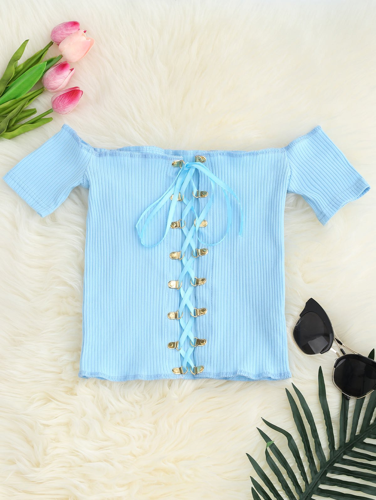 Lace Up Off The Shoulder Cropped Top, Light blue