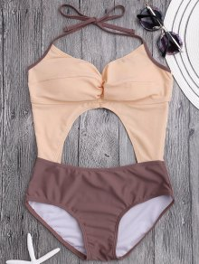Cut Out Color Block Ruched Swimwear