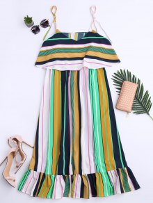 Slip Stripes Ruffles Casual Dress