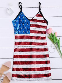 American Flag Sequins Club Patriotic Dress