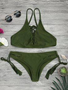Low Waisted Lace Up Bikini Top And Bottoms - Army Green S
