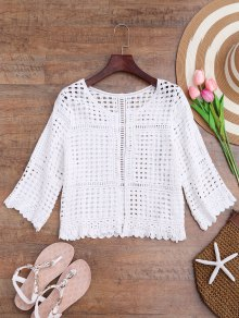 Open Front Laser Cut Out Crochet Cover Up
