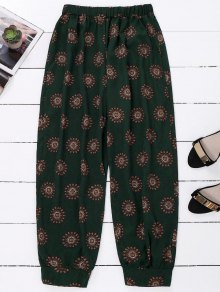 Print Harem Holiday Pants - Blackish Green