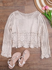 Long Sleeve Laser Cut Out Crochet Cover Up