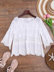 Crochet Panel Floral Embroidered Cover Up - White