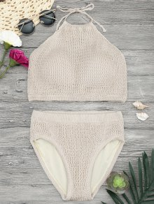 Padded High Neck Crochet Bikini Set