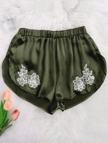 Applique Satin Dolphin Sleep Shorts - Army Green