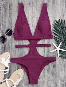 Cut Out Plunging Neck Bandage Swimwear - Purplish Red