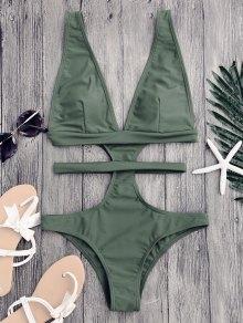 Cut Out Plunging Neck Bandage Swimwear - Sage Green