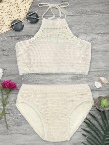 Padded Halterneck Crochet Bikini Set