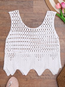 Laser Cutout Crochet Tank Cover Up