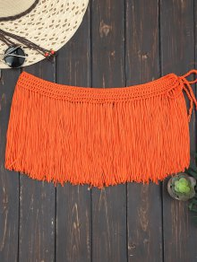 Boho Fringe Beach Cover Up Skirt - Orange Red