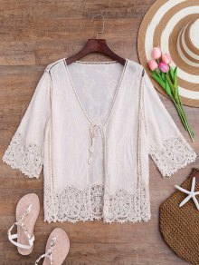 Crochet Panel Bohemian Front Tie Cover Up