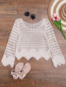 Scalloped Hem Crochet Laser Cut Cover Up