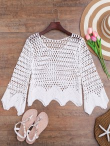 Scalloped Hem Crochet Laser Cut Cover Up - White