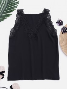 Fitting V Neck Lace Insert Tank Top - Black S