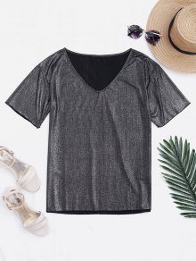 V Neck Loose Shiny Top