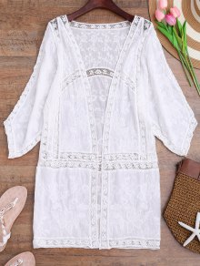 Crochet Embroidered Longline Kimono Cover Up