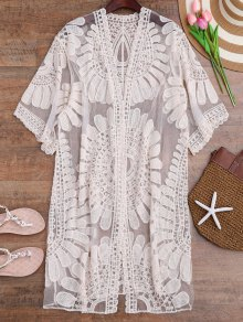 Crochet Flower Kimono Longline Cover Up