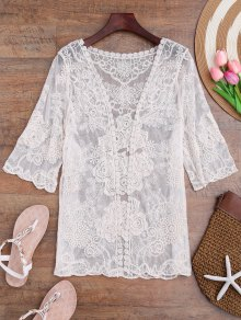 Sheer Crochet Flower Kimono Cover Up
