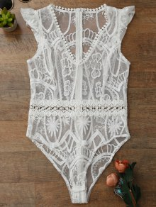 Sheer Lace Lingeries Teddy Bodysuit - White L