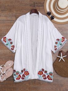Floral Embroidered Kimono Longline Cover Up