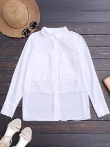 Chemise à Rayures Imprimées Avec Poches - Blanc L