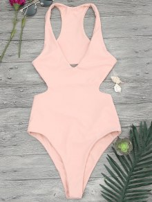 V Neck Cut Out One Piece Swimsuit - Orangepink
