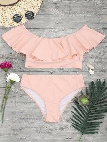 Ruffle Off The Shoulder Bikini Set - Orangepink L