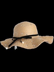 Detachable Ribbon Bowknot Sequin Straw Hat - Beige