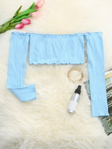 Frilled Off The Shoulder Crop Top - Light Blue