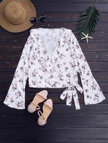 Floral Chiffon Wrap Blouse