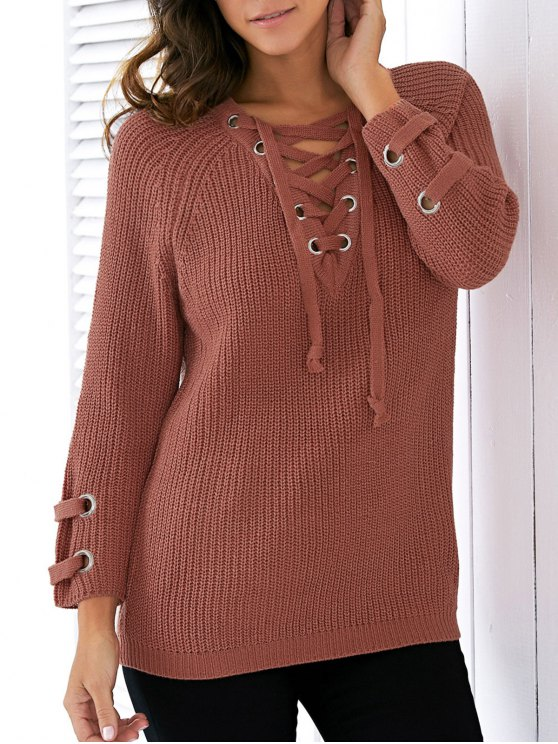 affordable Lace Up V Neck Solid Color Sweater - JACINTH ONE SIZE