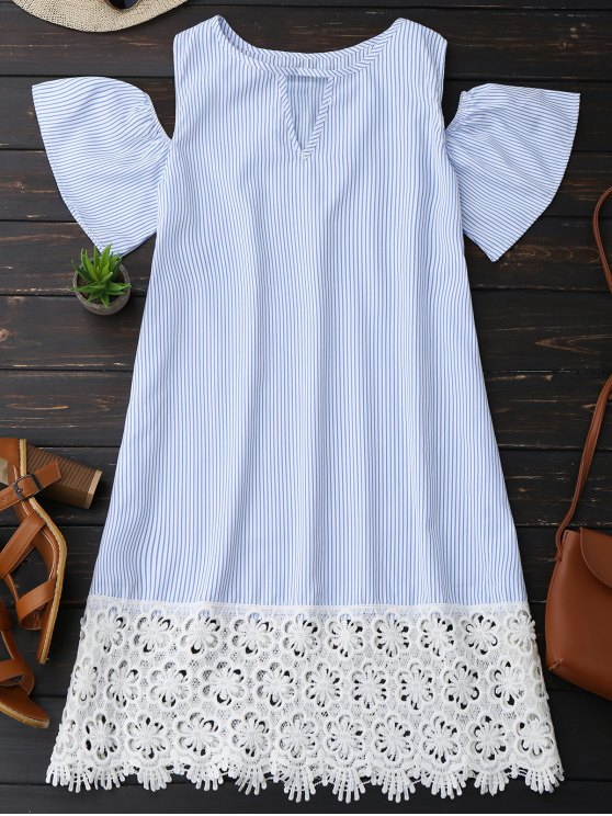 best Cold Shoulder Lace Striped Dress - STRIPE M