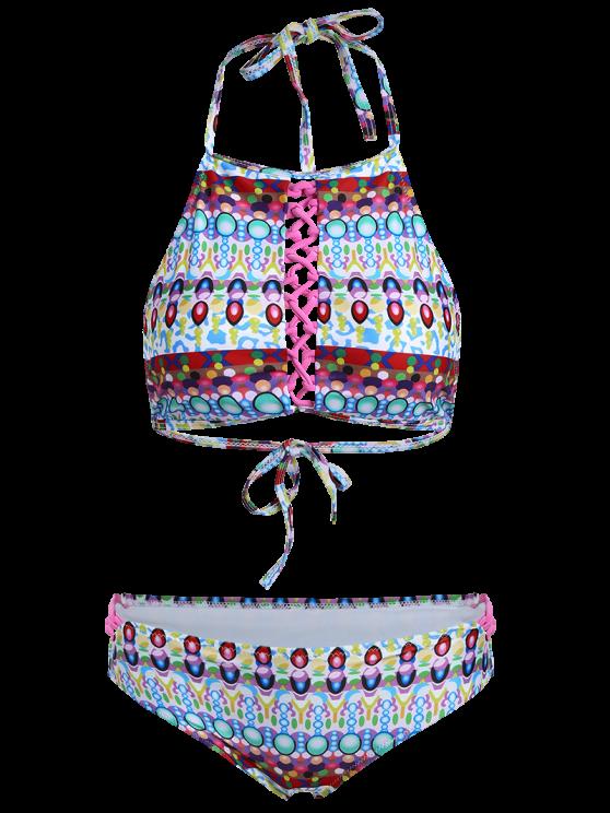 Halter Jewelry Print Bikini Set - GREEN L Mobile
