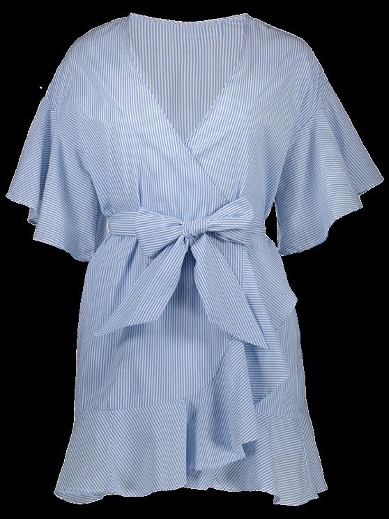 Low Cut Short Striped Wrap Dress - LIGHT BLUE S Mobile