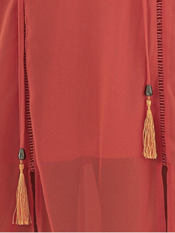 Double Slit Chiffon Midi Dress - JACINTH M Mobile