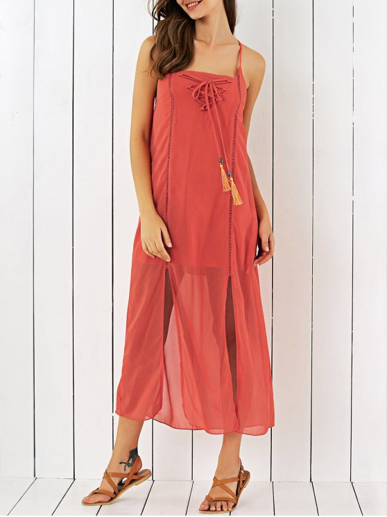 trendy Double Slit Chiffon Midi Dress - JACINTH M