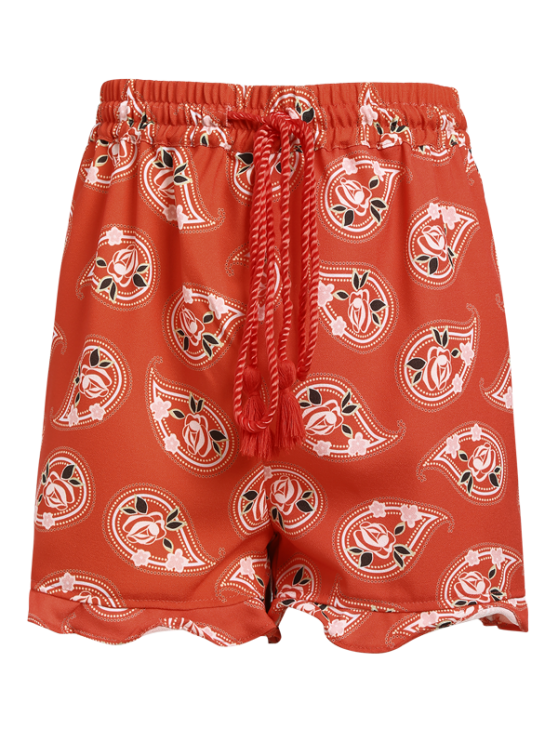 Full Floral Print Drawstring Shorts - RED 2XL Mobile