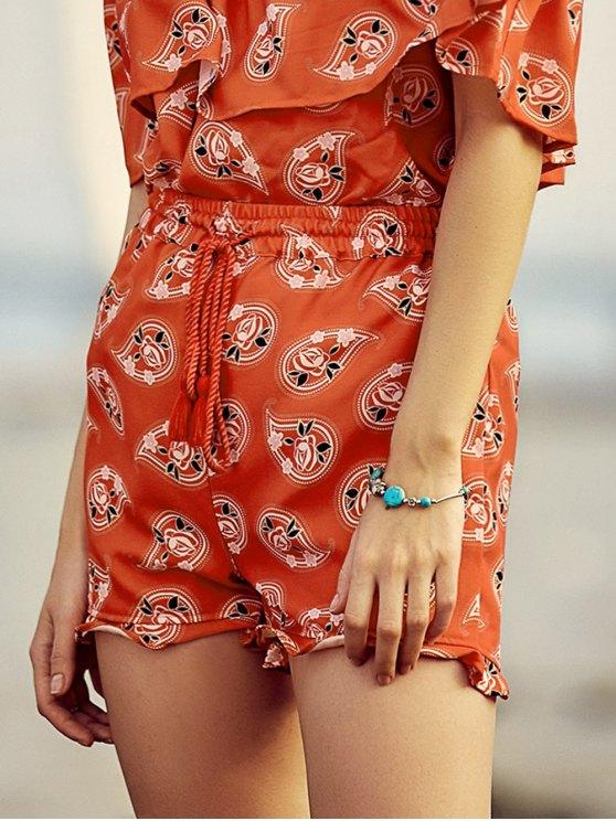 Full Floral Print Drawstring Shorts - RED L Mobile