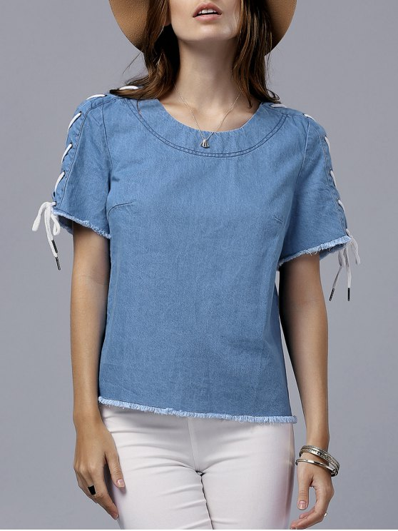 shops Vintage Lace-Up Round Neck Short Sleeve T-Shirt - BLUE 2XL