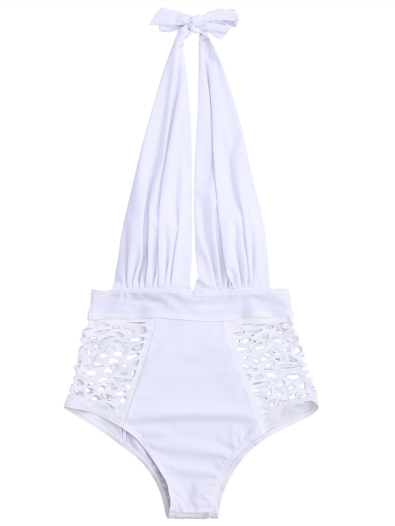 High Waisted Plunge Neck Hollow Out Tummy Control Swimsuit - WHITE S Mobile