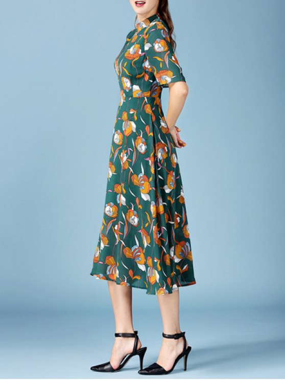 Printed Chiffon Midi Dress - BLACKISH GREEN L Mobile