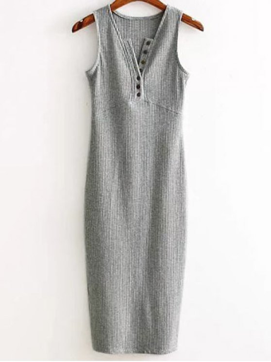 sale Side Slit Ribbed Dress - LIGHT GRAY ONE SIZE