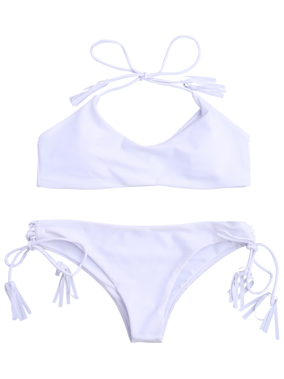 Tasselled Halter Bikini Set - WHITE L Mobile