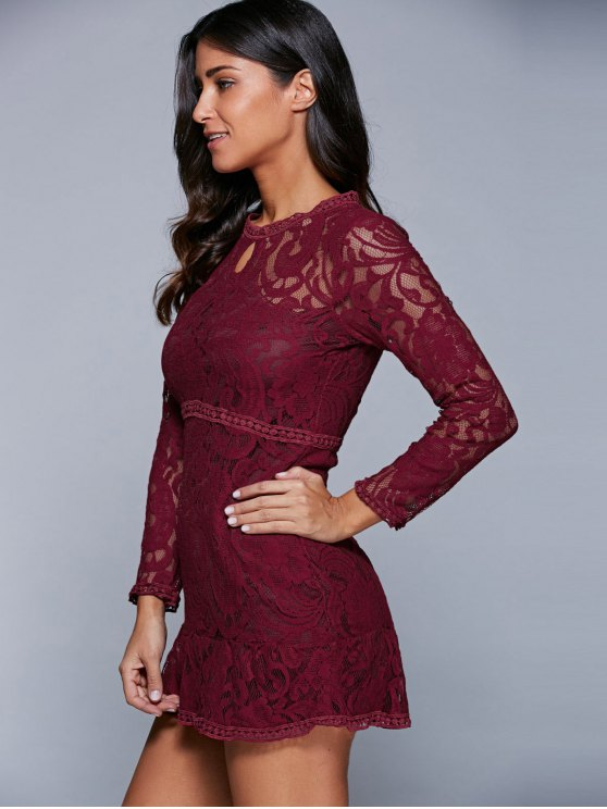 A-Line See-Through Dress - WINE RED S Mobile