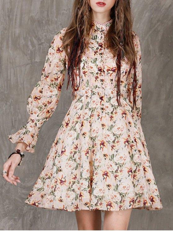Vestido floral de manga larga - Floral S