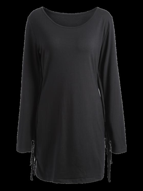Long Fringe Bodycon Dress - BLACK M Mobile