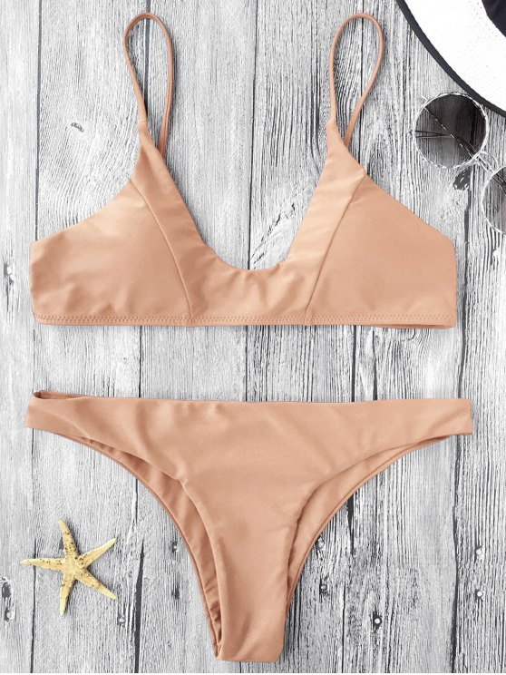 Cami conjunto de bikini acolchado - CaquiClaro M