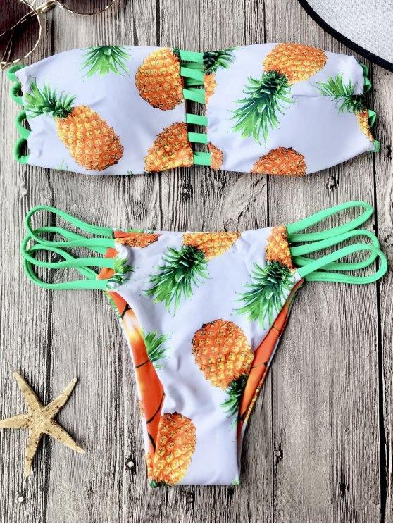 buy Reversible Pineapple Bandeau Bikini Set - WHITE M